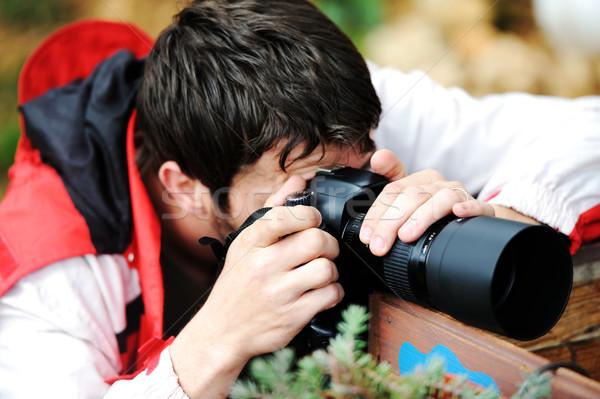 Profi fotós megbízás lencse kint közelkép Stock fotó © zurijeta