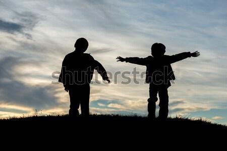 детей играть солнце лет закат активный Сток-фото © zurijeta