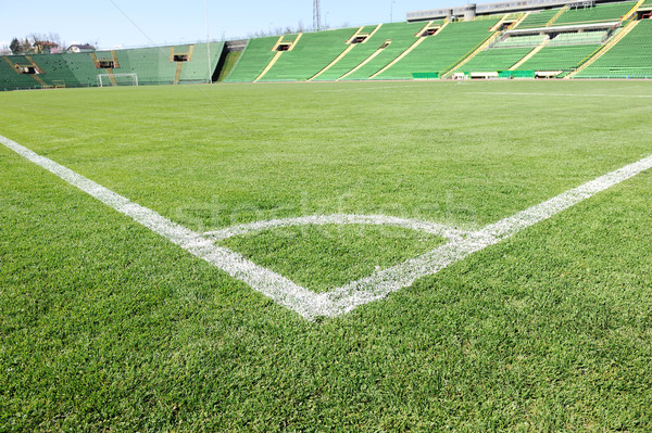Soccer field with beautiful green grass in stadium Stock photo © zurijeta