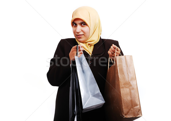 Fiatal muszlim női hagyományos ruházat szatyrok Stock fotó © zurijeta