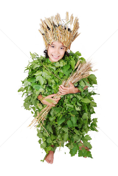Girl in leafs cloths with wheat hat and wheat in hands Stock photo © zurijeta