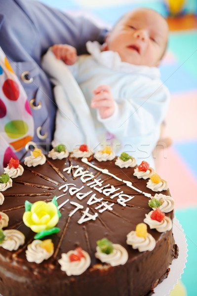 Baby at birthday party in kindergarden playground Stock photo © zurijeta