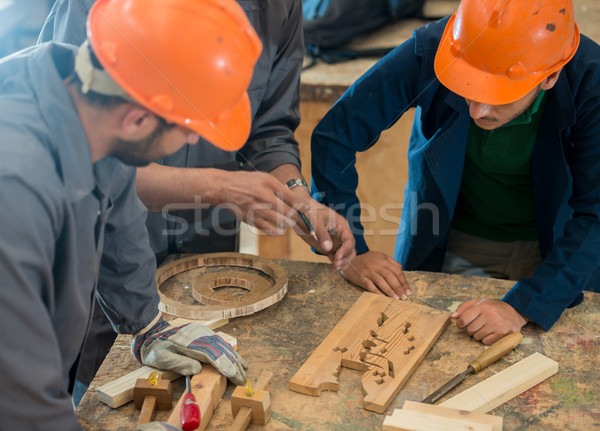 Craft workers in wood factory Stock photo © zurijeta