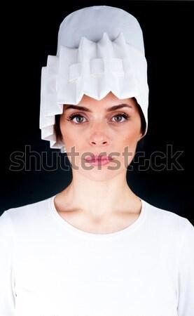 Stok fotoğraf: Beyaz · kadın · moda · gözler · model · kar