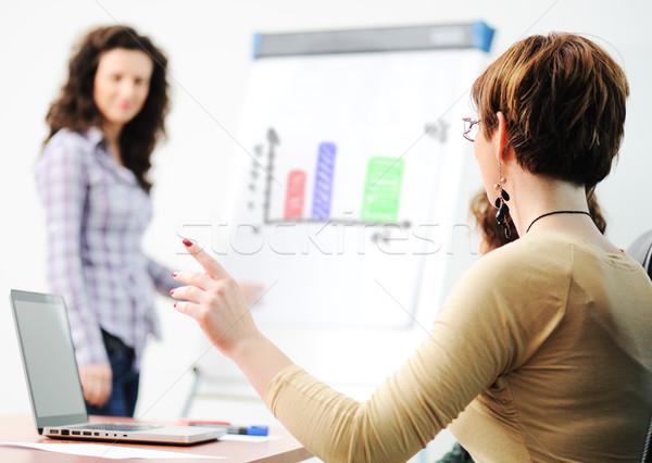 Business presentatie meisje vergadering werk Stockfoto © zurijeta