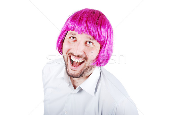 Funny male with periwig on head Stock photo © zurijeta