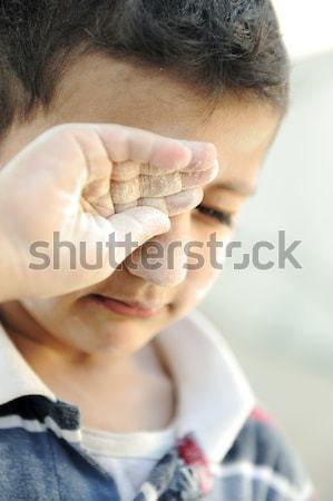 Portret armoede weinig arme vuile jongen Stockfoto © zurijeta