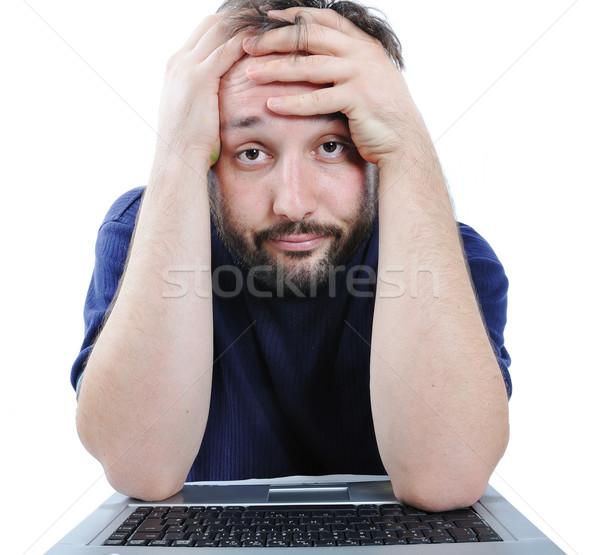 Człowiek patrząc komputera rozpacz działalności twarz Zdjęcia stock © zurijeta