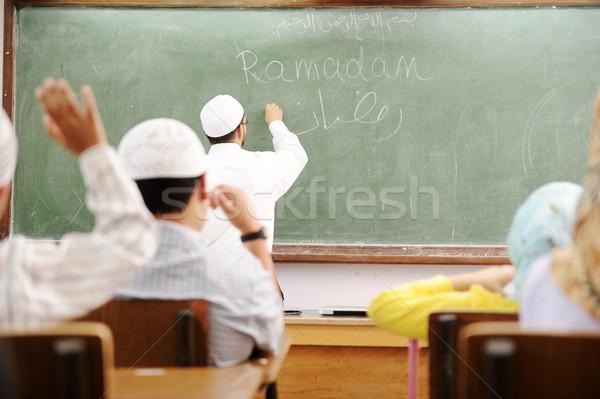 Tanár osztályterem ír ramadán tábla lány Stock fotó © zurijeta