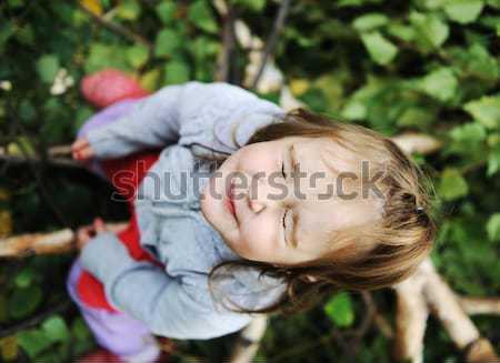 Beauty blond baby on tree leaves ground Stock photo © zurijeta