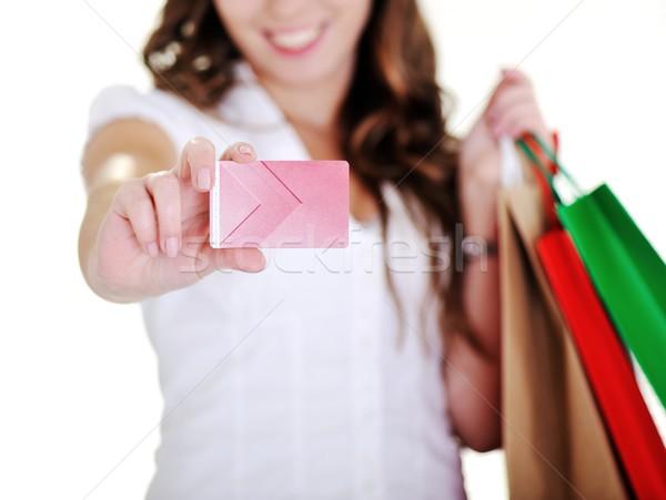 торговых женщину визитной карточкой бизнеса бумаги Сток-фото © zurijeta