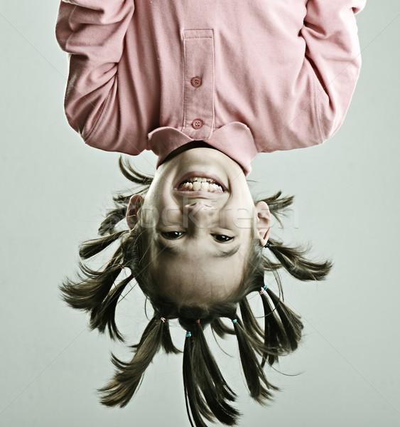 Vicces portré gyerek hajstílus mosoly arc Stock fotó © zurijeta