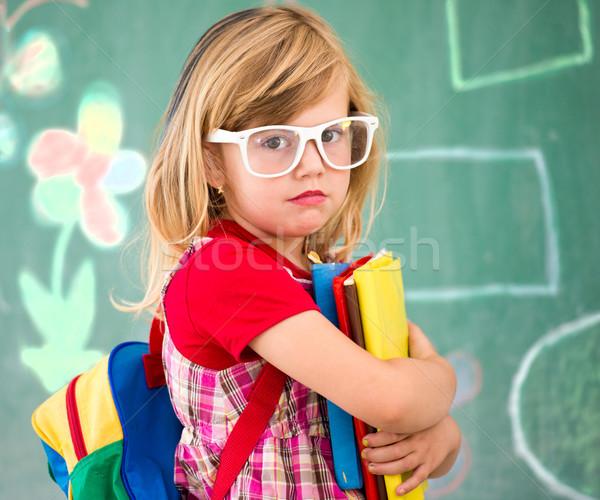 Stockfoto: Weinig · school · blond · meisje · klas · rugzak