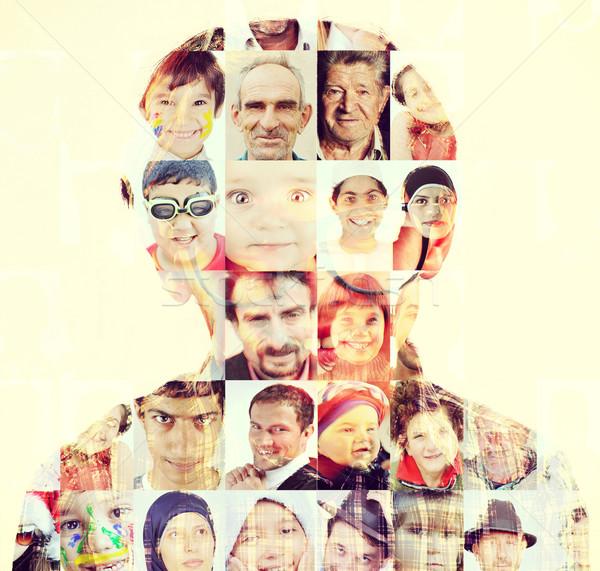 People faces head collage concept Stock photo © zurijeta