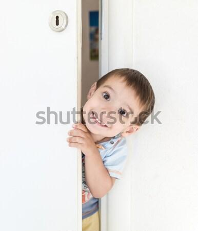 çocuk yüz dışarı kapıyı açmak mutlu moda Stok fotoğraf © zurijeta