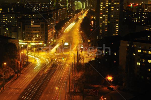 Modern Urban City at Night with Freeway Traffic Stock photo © zurijeta