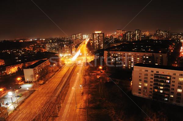 Berlin Németország éjszaka út épület utca Stock fotó © zurijeta