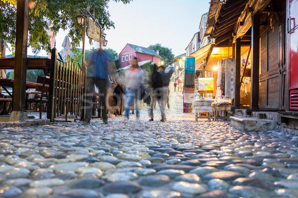 Old city town street by night Stock photo © zurijeta