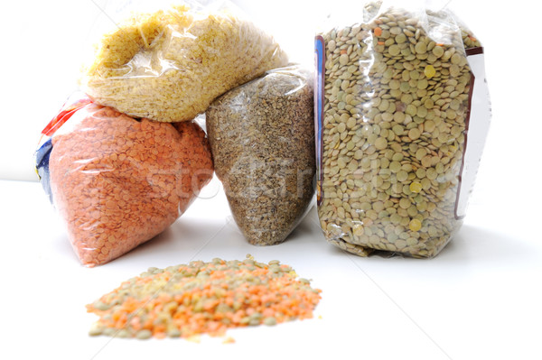 assorted beans, lentils, grains and seeds isolated with clipping path Stock photo © zurijeta