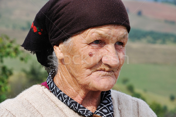 Very old woman with expression on her face Stock photo © zurijeta
