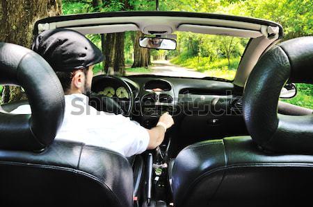Fiatal fickó vezetés sportautó erdő férfi Stock fotó © zurijeta