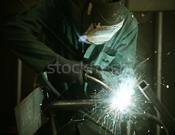 Lasser masker lassen metaal brand Stockfoto © zurijeta