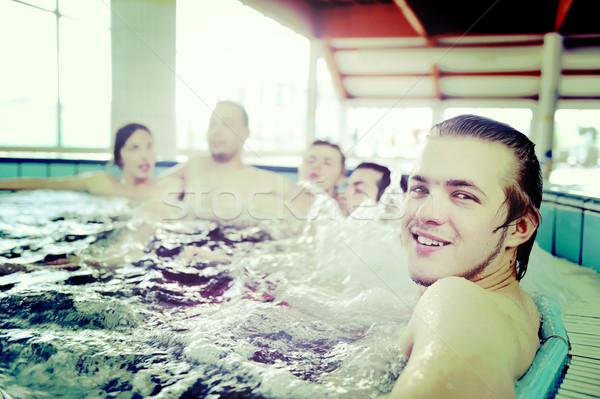 Grup genç halklar havuz jakuzi Stok fotoğraf © zurijeta