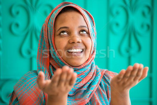 África musulmanes nina rezando cara feliz Foto stock © zurijeta