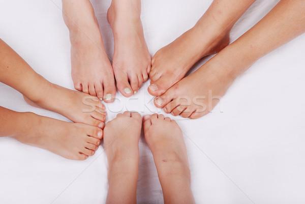 Group of several pairs of children legs Stock photo © zurijeta