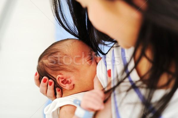 Mãe amamentação recém-nascido bebê hospital peito Foto stock © zurijeta