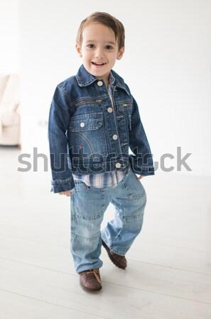 Cute little preschool boy isolated on white, mixed race, arabic white - african american Stock photo © zurijeta