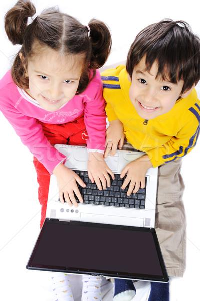Kinderen laptop onderwijs portret jeugd vrouwelijke Stockfoto © zurijeta