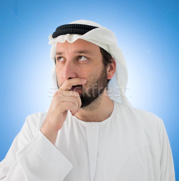 Foto stock: árabe · homem · interesse · preocupado · sorrir · empresário