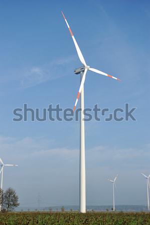 Szélturbinák farm elektromos nap zöld energia Stock fotó © zurijeta