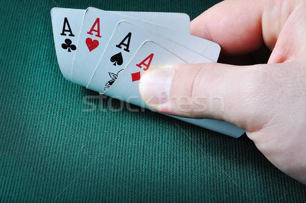 Quatre casino vert argent coeur Photo stock © zurijeta