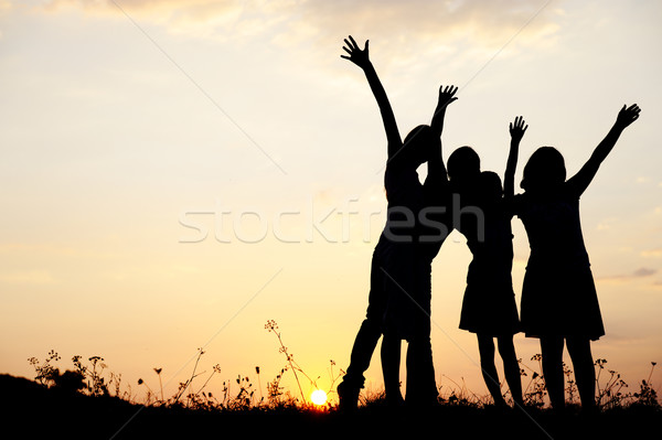 Silhouette, group of happy children playing on meadow, sunset, summertime Stock photo © zurijeta