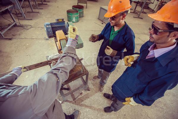 Trabalhadores industrial fábrica construção trabalhar tecnologia Foto stock © zurijeta