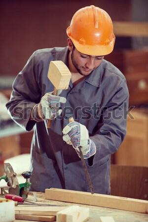 Team werken project industriële hout fabriek Stockfoto © zurijeta