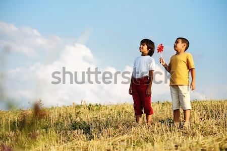 Stock photo: Enjoying childhood at summer vacation with dad