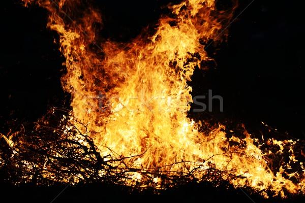 Dev yangın çim arka plan duman yeşil Stok fotoğraf © zurijeta