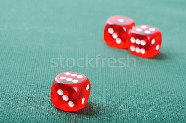 Hazárdjáték piros kockák kaszinó zöld csoport Stock fotó © zurijeta
