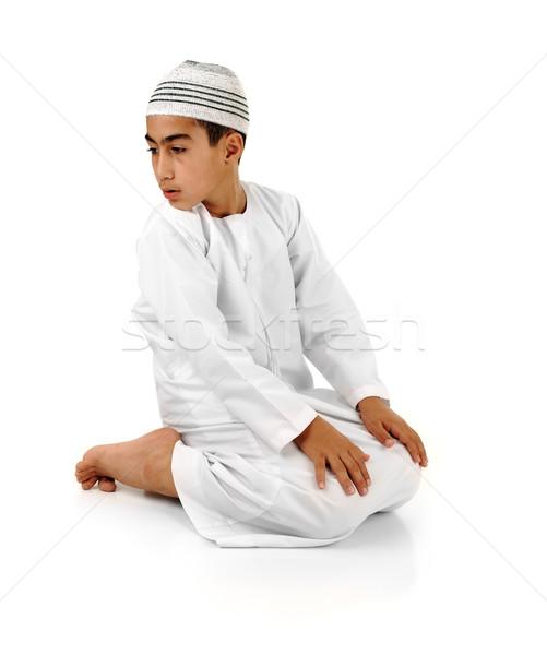Iszlám imádkozik magyarázat tele arab gyermek Stock fotó © zurijeta