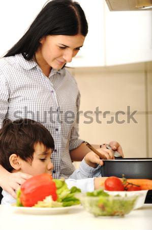 Cute положительный мальчика сырой мяса овощей Сток-фото © zurijeta