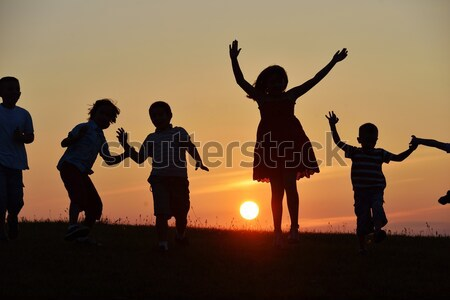 Foto stock: Familia · feliz · pradera · verano · puesta · de · sol · mujer · familia