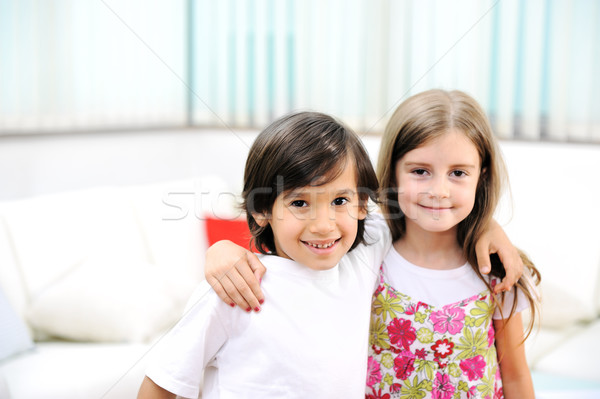 Loving, brother and sister huging each other Stock photo © zurijeta