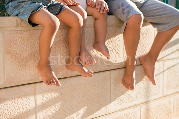 Group of happy children feet Stock photo © zurijeta