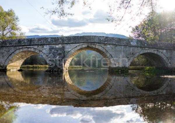 Vecchio ponte fiume antica arch cielo Foto d'archivio © zurijeta