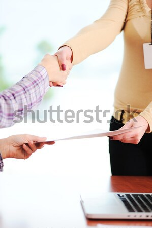 Closing a successful deal with a handshake. Congratulations! Getting a new job. Stock photo © zurijeta