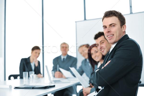 Grup iş adamları konferans salonu kadın çalışmak cam Stok fotoğraf © zurijeta