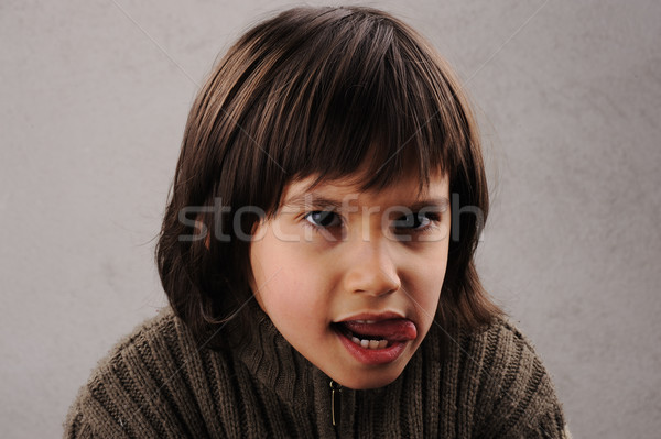 Schoolboy, series of clever kid 6-7 years old with facial expressions Stock photo © zurijeta